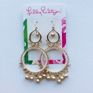 Lilly Pulitzer White and Gold chandelier earrings